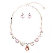 Teardrops Crystal Necklace Set - Rose Gold