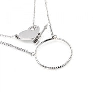 Love Arrow Double Pendant Necklace - Silver