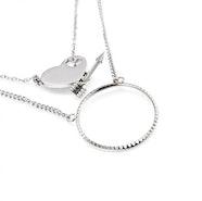 Love Arrow Double Pendant Necklace - Silver