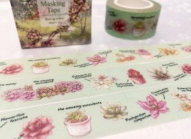 Succulent washi masking tape 10M fat plant Green plant potted plant washi tape plant diary garden gardening planner scrapbook gift decor