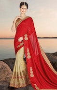 Ephemeral Red And Beige Georgette Half And Half Sari Design With Beige Brocade Blouse
