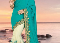 Graceful Green And Cream Silk Indian Half Saree With Cream Dhupian Blouse