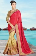 Attractive Red And Beige Silk And Georgette Half And Half Saree With Beige Brocade Blouse
