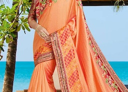 Beautiful Peach Silk Stylish Saree With Maroon Brocade Blouse