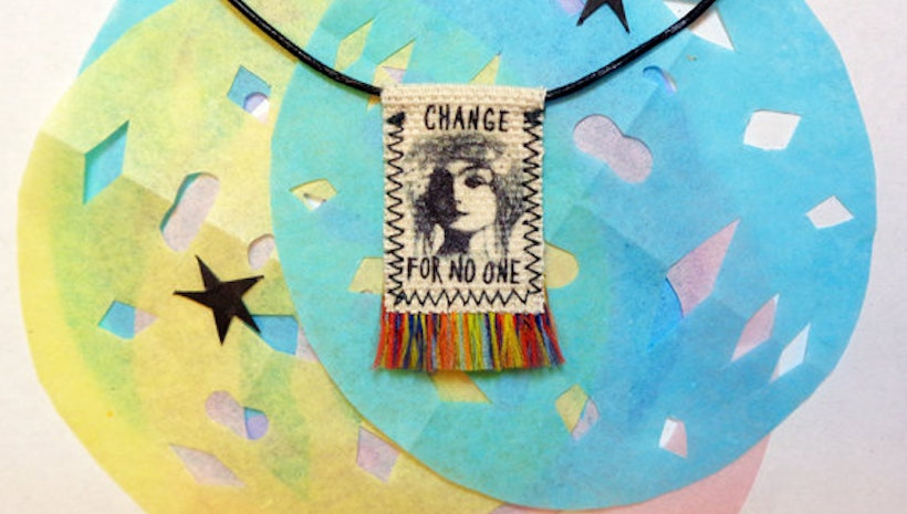 Change For No One, feminist mini banner necklace