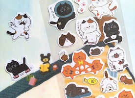 cute cat sticker funny cat brown cat Happy pet street cat kawaii pet cat Sticker fat kitten label icon cat theme scrapbook birthday gift