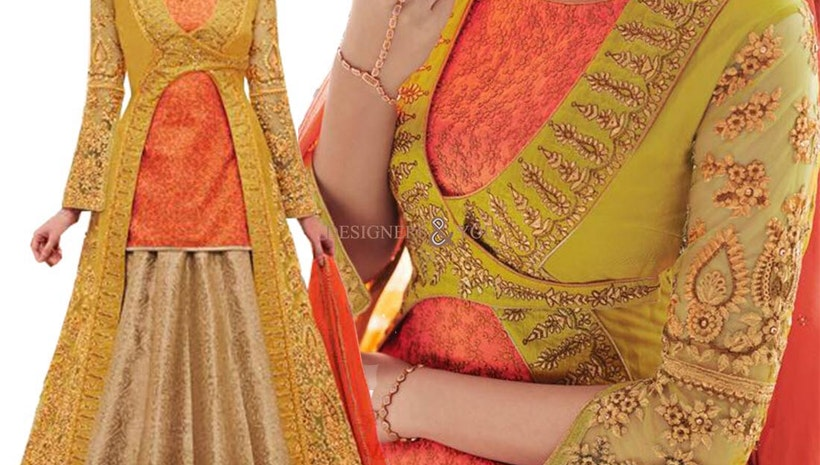 Artistic Yellow Embroidered And Zari Work Silk Wedding Lehenga Choli