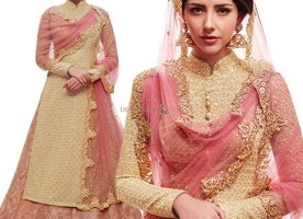Stunning Cream Zari Work Silk Wedding Lahenga Choli Design For Reception