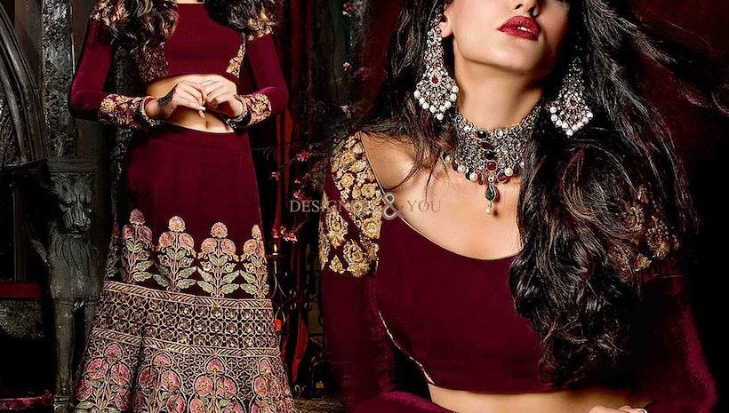 Decent Maroon Heavy Worked Velvet Lahenga Choli For Wedding Reception
