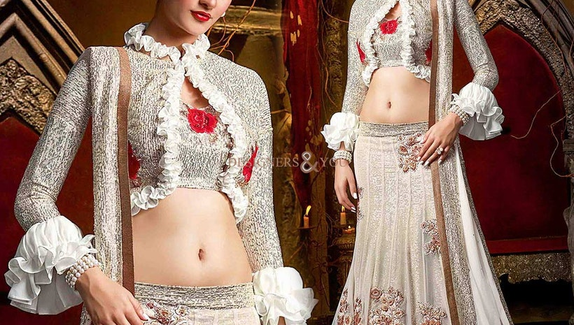 Alluring White Embellished Net And Georgette Ghagra Choli For Wedding Reception
