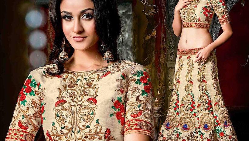 Pretty Beige Embellished Silk Lahenga For Wedding