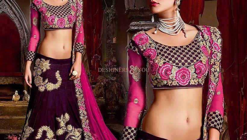 Elegant Magenta Heavy Worked Velvet Wedding Lahenga For Engagement
