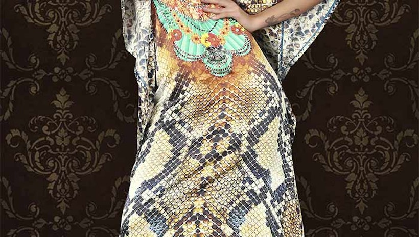 Stunning Multicolor Satin Silk Digital Print Kaftan Tops Online