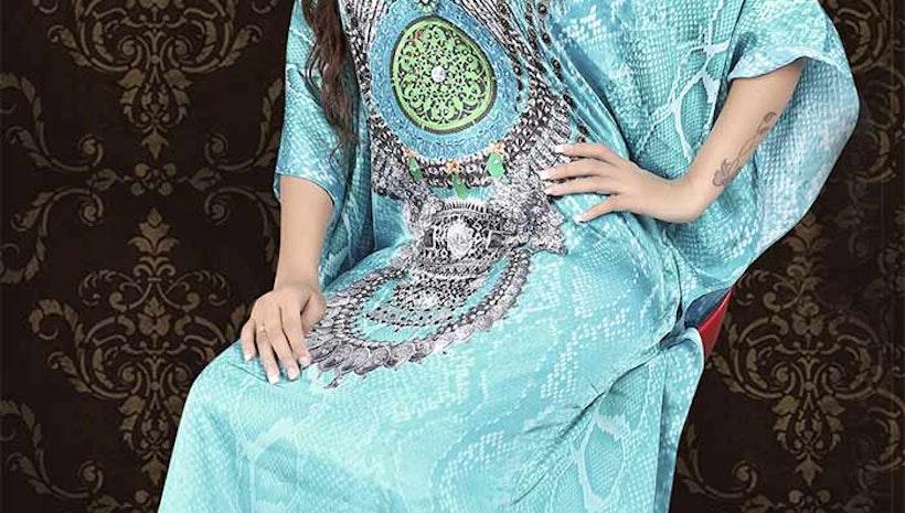 Irresistible Blue Satin Silk Digital Print Kaftan Dress Pattern