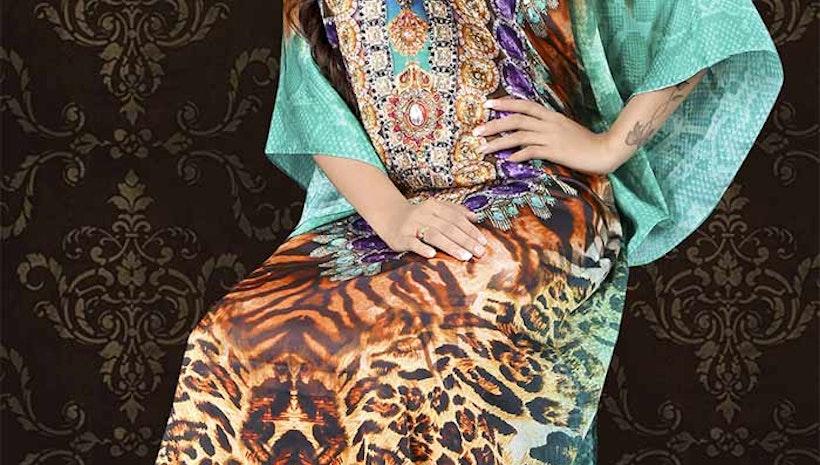Heavenly Green And Brown Satin Silk Digital Print Kaftan Tops Plus Size