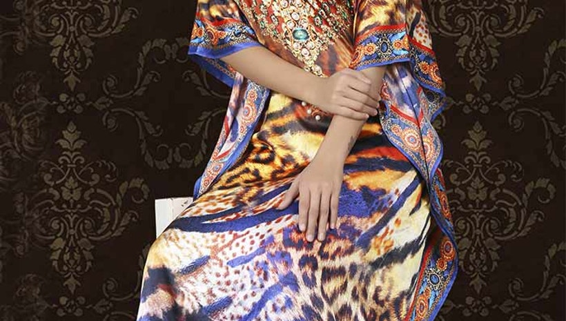 Artistic Multicolor Satin Silk Digital Print Kaftan Maxi Dress