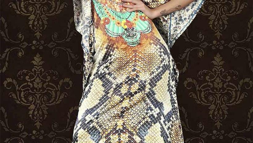 Stunning Multicolor Satin Silk Digital Print Kaftan Tops Online