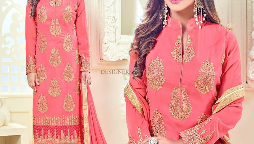 Ineffable Peach Georgette Aline Celebrity Krystle Dsouza Suit