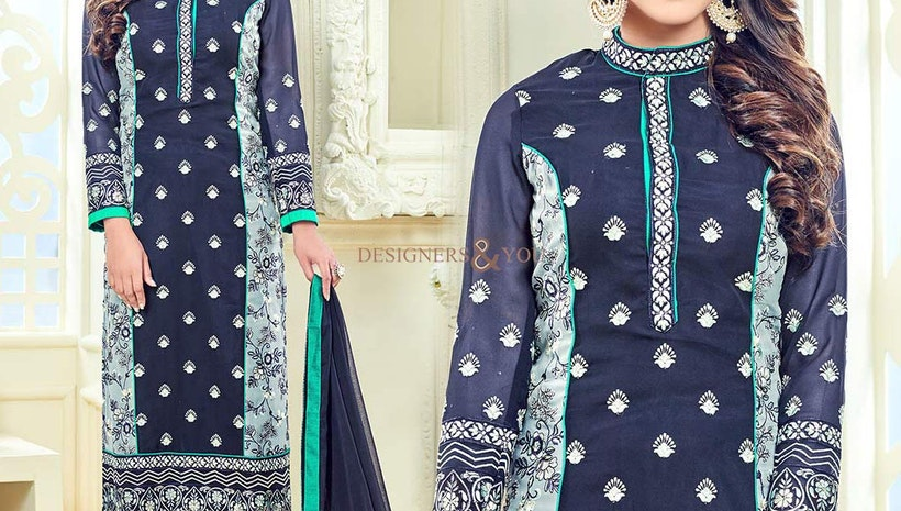 Ingenue Blue Georgette Aline Celebrity Krystle Dsouza Salwar Kameez