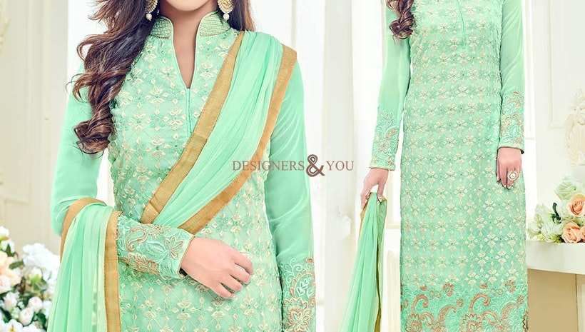 Ravishing Light Green Georgette Aline Celebrity Dress Starring Krystle Dsouza