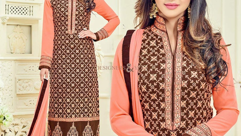 Beautiful Brown And Peach Georgette Aline Actress Salwar Kameez
