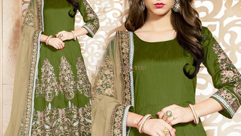 Good Looking Green Embroidered Art Silk Anarkali Salwar Kameez