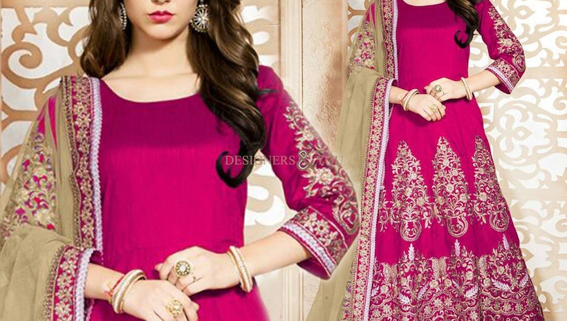 Lovely Pink Embroidered Art Silk Anarkali Style Outfit For Girls