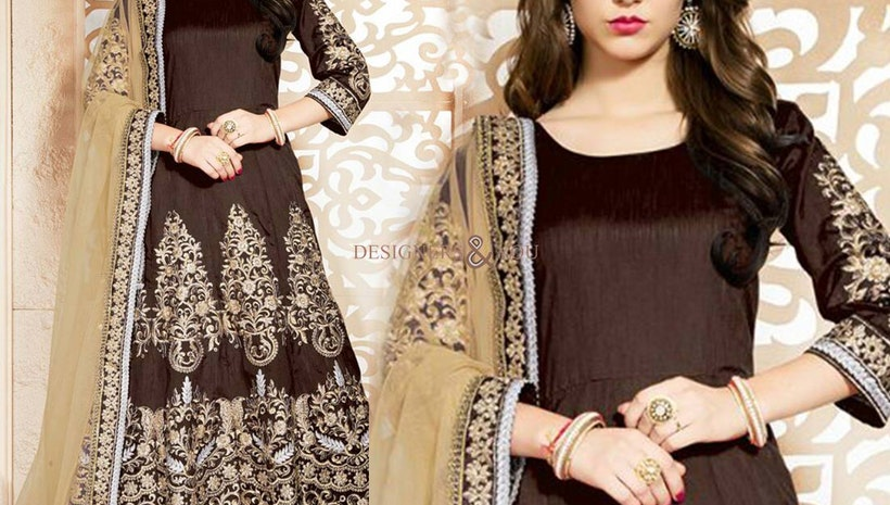 Beguiling Brown Embroidered Art Silk Long Anarkali Gown UK Style