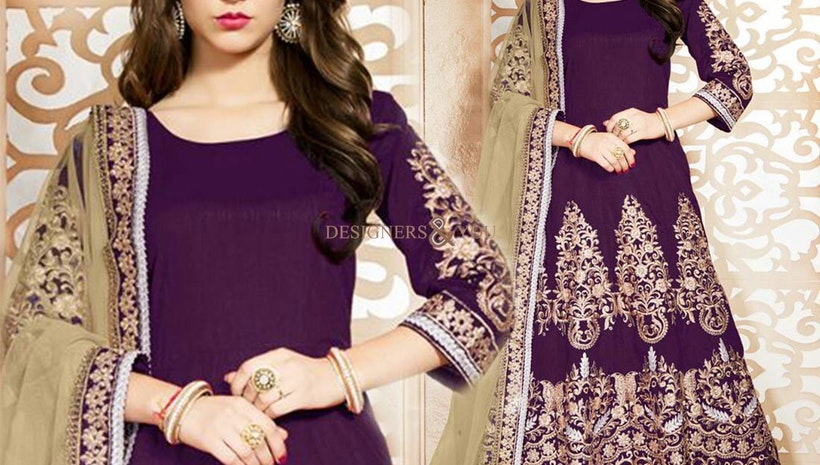 Appealing Violet Embroidered Art Silk Anarkali Suit Design USA Style