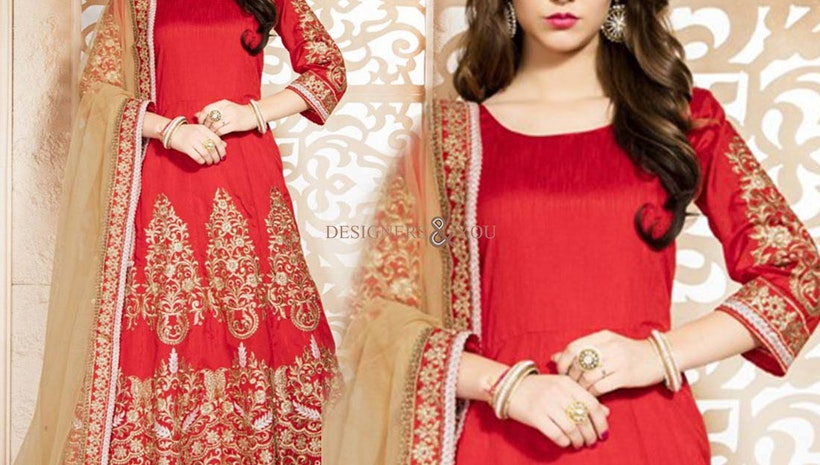 Bewitching Red Embroidered Art Silk Anarkali Dress Design For Ladies
