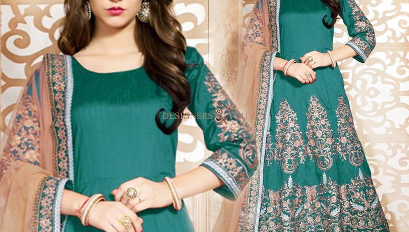 Faciable Sea Green Embroidered Art Silk Floor Length Anarkali