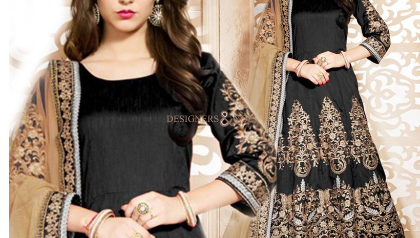 Graceful Black Embroidered Art Silk Anarkali Gown For Party