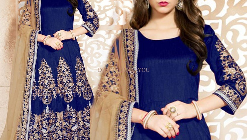 Deddable Blue Embroidered Art Silk Anarkali Salwar Suit For Women