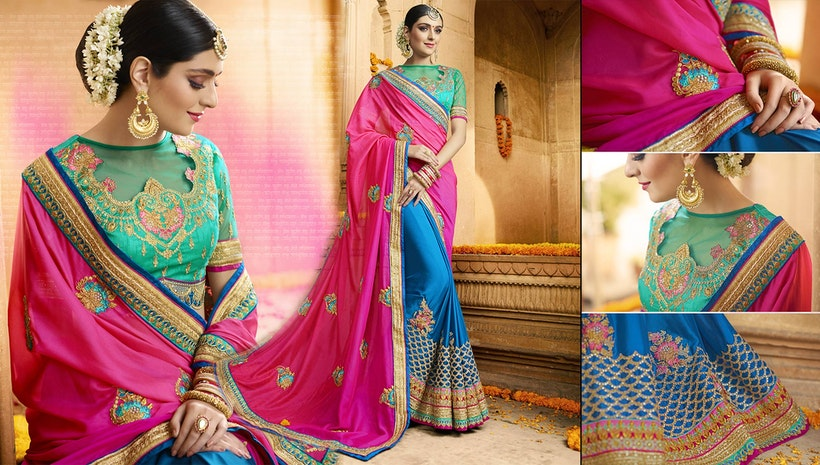 Designer Saree Blouse Designs: Women's Party Wear Sarees & Latest Half n Half Sarees Blouse Designs