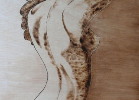 """Burned shadow"" original on wood board by Gioia Albano"
