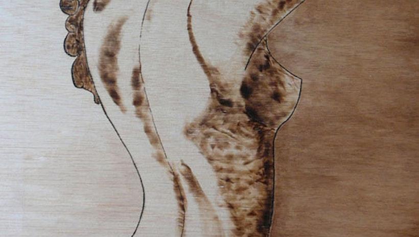 """Burned shadow"" original on wood board by Gioia Albano"