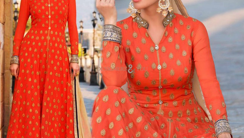 Elegant Orange Embroidered Georgette Indo Western Dress For Girls