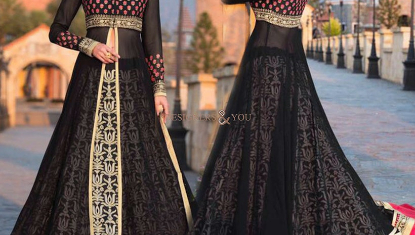 Delightful Black Embroidered Georgette Party Wear Dress