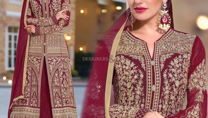 Ephemeral Maroon Embroidered Georgette Indo Western Suit For Fashionables