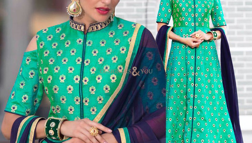 Pleasing Green Embroidered Silk Party Wear Suit For Women