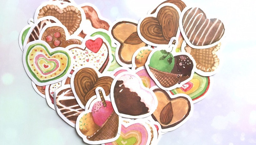 40 heart shaped biscuits sticker sweet dessert chocolate cake pretty cake label sticker iced heart colorful biscuits party decor sticker