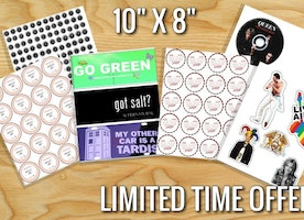 """Custom Stickers - All the stickers you can fit on 8"""" x 10"""" - Labels - Weddings - Parties - Bumper Stickers - Cheap"""