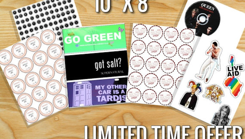 "Custom Stickers - All the stickers you can fit on 8"" x 10"" - Labels - Weddings - Parties - Bumper Stickers - Cheap"