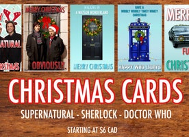 Christmas/Holiday Card Set - Supernatural, Sherlock, Doctor Who (Set Of 5)