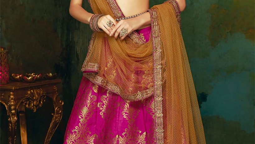 Prepossessing Pink Art Silk Contemporary Heavy Ghagra Choli Design
