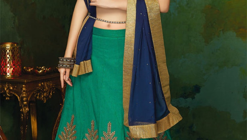 Nice Green Art Silk Heavy Lehenga Choli Online For Women