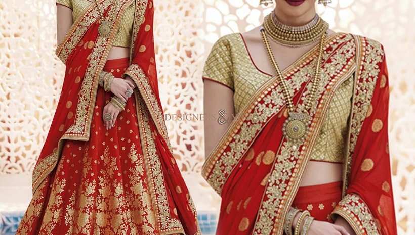 Delightful Red Heavy Work Brocade Lehenga Jacket For Bride