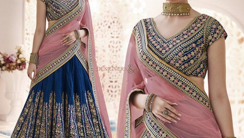 Ephemeral Blue Heavy Work Silk Chaniya Choli For Bride