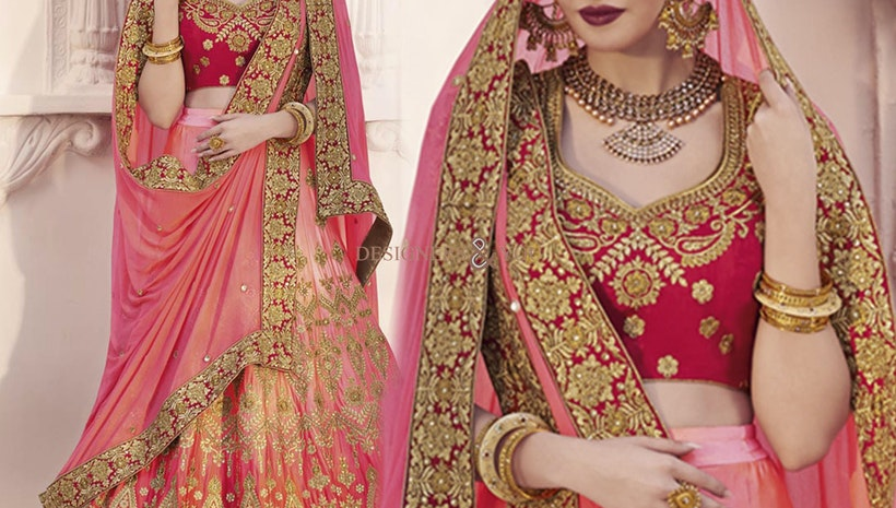 Charming Pink Heavy Work Satin Ghagra Choli For Bride