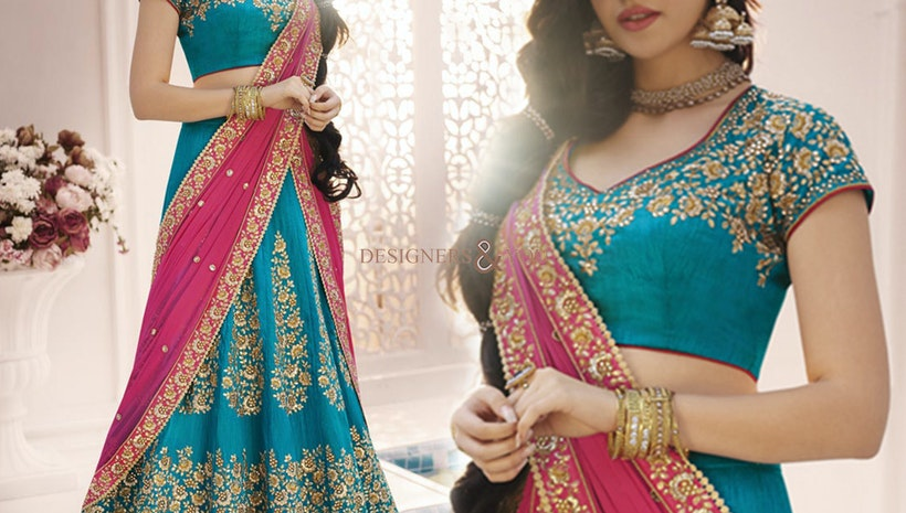 Lovely Sky Blue Heavy Work Silk Bridal Lahenga Choli